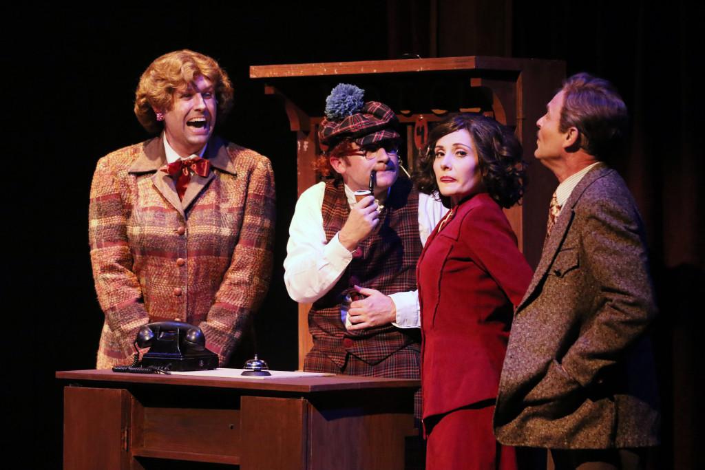 Scottish innkeeper's wife (Justin Waggle in drag), Scottish innkeeper (Stephen Kline), Pamela (Katie Worley), and Richard Hannay (John Stadelman) in Oregon Cabaret Theatre's The 39 Steps.