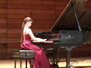 Tutunov piano student, Tatsiana Asheichyk, performing during Tutunov Piano Series concert in Ashland, OR on Oct. 17, 2014