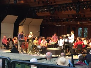 Britt String Bassist Nathan Farrington, Guest singer Morgan James, drummer Gabriel Globus-Hoenich, Music Director/pianist Teddy Abrams and trumpeter Conrad Jones join the Britt Orchestra for the performance of Some Other Time from Leonard Bernstein's On the Town on August 9, 2015 in Jacksonville, OR.