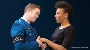 """Benedick (Danforth Comins) and Beatrice (Christiana Clark) in OSF's """"Much Ado About Nothing"""""""