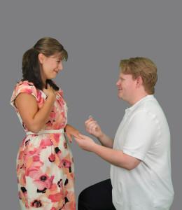 "Cathy Hiatt (Amanda Andersen) and Jamie Wellerstein (Nathan Monks) in Camelot Theatre's ""The Last Five Years""."