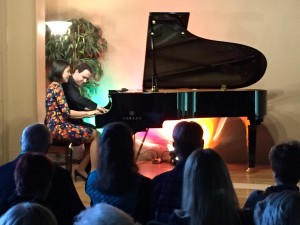 Four Hands Jazz Piano Duo (Stephani Trick & Paulo Alderighi) perform at Siskiyou Music Project Concert at The Artistic Piano Gallery, Medford, OR on Sept. 16, 2014.