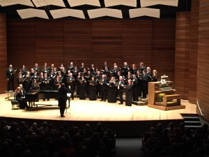 Southern Oregon Repertory Singers, directed by Dr. Paul French, performing Henk Badings' Troi Chansons Bretonnes, with pianist Jodi French during Bright Orb of Harmony Concert on Oct. 26, 2014