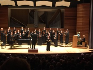 Soprano Amanda Gerig singing solo during Kyrie movement of Gabriel Fauré's Messe Basse with the Southern Oregon Repertory Singers, directed by Dr. Paul French, in The Passing of Time concert at S.O.U. Recital Hall, Ashland, OR on Feb. 8, 2015