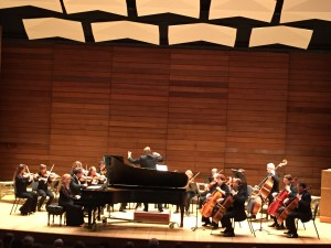 Pianist Jodi French and chamber orchestra, directed by Dr. Paul French, performing Gabriel Fauré's Eclogue, in The Passing of Time concert at S.O.U. Recital Hall, Ashland, OR on Feb. 8, 2015