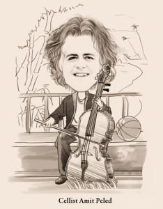 Caricature of Virtuoso Cellist Amit Peled