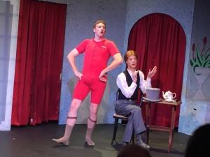 Bullshot Crummond (Tyler Ward) rehearses his initial approach to Rosemary Fenton, using best friend, Algy (Jacob Uhlman), as a surrogate damsel.