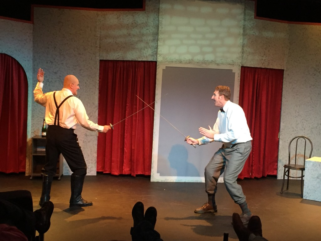 Otto Von Brunno (John Richardson) and Bullshot Crummond (Tyler Ward) engage in a send up of a swashbuckling sword fight in Randall Theater's Bullshot Crummond.