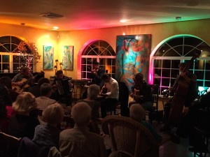 Ed Dunsavage (far left) performing with Pearl Django (L-R David Lange, Michael Gray, Troy Chapman, Ryan Hoffman & Rick Leppanen) at Paschal Winery in Talent, OR on Oct. 8, 2015