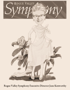 My tribute caricature of Rogue Valley Symphony Executive Director Jane Kenworthy