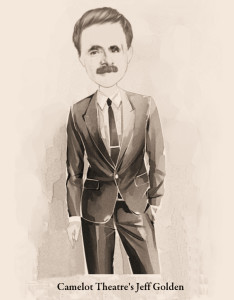 Caricature of Jeff Golden, who plays the role of Senator Johnnie Iselin in Camelot Theatre's The Manchurian Candidate