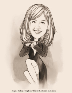 Caricature of Rogue Valley Symphony Principal Flutist Katheryn McElrath