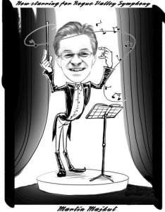 Caricature of Rogue Valley Symphony Music Director Martin Majkut