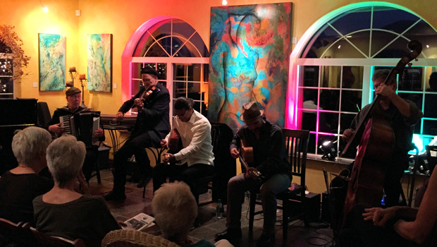 Pearl Django (L-R David Lange, Michael Gray, Troy Chapman, Ryan Hoffman & Rick Leppanen) performing at Paschal Winery in Talent, OR on Oct. 8, 2015