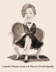 Caricature of Presila Quinby, who plays the role of Mrs. Iselin in Camelot Theatre's The Manchurian Candidate