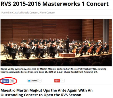 Review of Rogue Valley Symphony 2015-16 Season Opening Concert generates over 150 Facebook LIKES in less than 3 days!