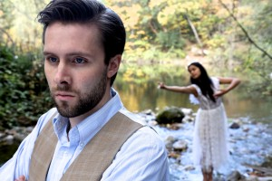 Connor Bryant as Konstantin Treplyov and Nicole Bruno as Nina in Center Stage Theater's production of Chekhov's Seagull