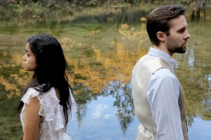 Nicole Bruno as Nina and Connor Bryant as Konstantin Treplyov in Center Stage Theater's production of Chekhov's Seagull