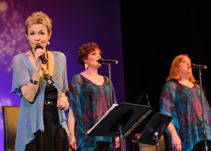 The 3 women vocalists in Camelot Theatre's Spotlight on Carole King (l-r): featured singer Gayle Wilson, backup singers Rose Passione and Karen Cooke
