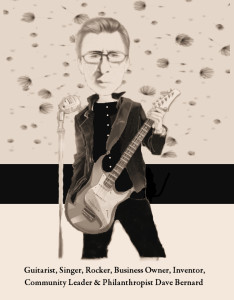 Original caricature of vocalist-guitarist Dave Bernard by Reviewer Lee Greene