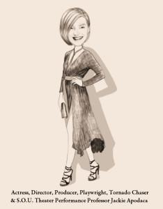 Original Caricature of Director Jackie Apodaca by Reviewer Lee Greene