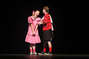 """Sally (EmmaQuackenbush) and Linus (Preston Montgomery) in Crater Drama's """"You're a Good Man Charlie Brown"""". Photo by Bailey Hilke."""