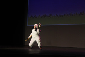 """Snoopy (Cameron Kolpak) dancing """"Suppertime"""" in Crater Drama's You're a Good Man Charlie Brown"""". Photo by Bailey Hilkey."""