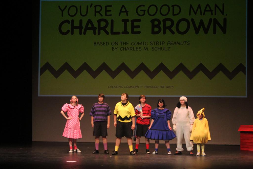 "Cast of Crater Drama's ""You're a Good Man, Charlie Brown"" (l-r): Sally (Emma Quackenbush), Schroeder (Dakota Licea), Charlie Brown (Jacob Hearne), Linus ( Preston Montgomery), Lucy (Tiffany Aslakson), Snoopy (Cameron Kolpak), Woodstock (Sam Cerekas). Missing: Dancing Blanket (Addison Rivera)."