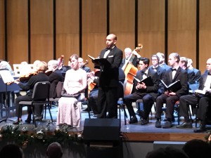 "Baritone Jose Rubio singing """"Thus saith the Lord"" during performance of Handel's ""Messiah"" at Grants Pass Performing Arts Center in Grants Pass, OR on December 3, 2015."