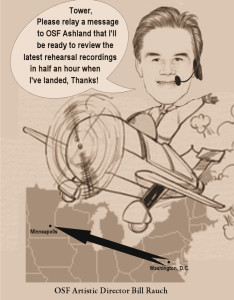 Original caricature of OSF Artistic Director Bill Rauch by the reviewer. See text of article for info to help understand depiction.