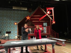 OSF Artistic Director Bill Rauch (left) and Executive Director Cynthia Rider (right) answer OSF Community Town Hall audience questions on the set of OSF's production of The Yeomen of the Guard in the Thomas Theatre, Ashland OR on Jan. 28, 2016