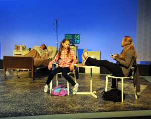 Hannah (Jaidyn Campbell) and Michelle (Aubrey Campbell) Greenwold trying to make sense of life, death, brain death, souls, life support, etc. at bed of their aunt: pregnant, brain dead, on life support Claire Green (Elizabeth Marie) in Camelot Theatre's production of Solomon's Blade
