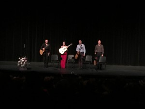 VIDA Guitar Quartet (l-r) Christopher Stell, Amanda Cook , Mark Ashford and Mark Eden, soaking in applause from an appreciatie audience in Medford, OR on Feb. 22, 2016