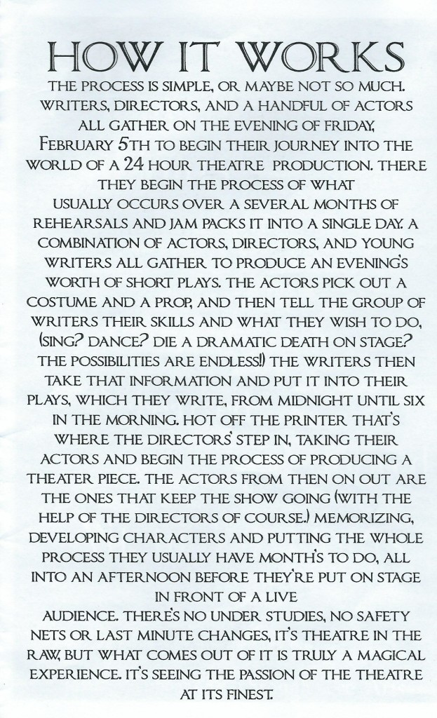 Page from the Crater Drama Theater Program explaining what the drama kids did ALL night!