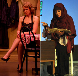 Recognizable Stephanie Jones as Cherie in Bus Stop, left, is unrecognizable as herself when she becomes Sahrrah Shouman in Camelot Theatre's production of Solomon's Blade