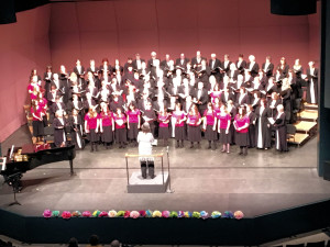 Music Director Laurie Anne Hunter leads Rogue Valley Chorale together with the youth Cantare Chours in the performance of Portones Abiertos y Rostros Brillantes, by Paul Basler, during Rogue Valley Chorale's Misa Azteca Concert, March 12, 2016 at Craterian Theatre, Medford, OR