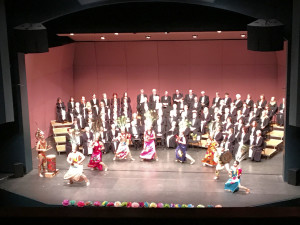 Ballet Folklorico Ritmo Allegre perform one of four Danza Azteca dances during Rogue Valley Chorale's Misa Azteca Concert, March 12, 2016 at Craterian Theatre, Medford, OR
