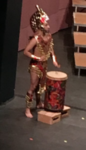 Ballet Folklorico drummer provides rhythmic beat for Danza Azteca dances performed by Ballet Folklorico Ritmo Allegre during Rogue Valley Chorale's Misa Azteca Concert, March 12, 2016 at Craterian Theatre, Medford, OR