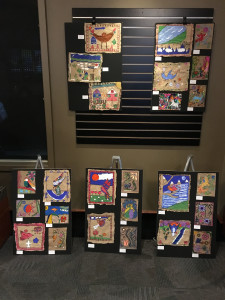 Art based on traditional Mexican Bark Painting created by students of Phoenix-Talent School District teachers Carmen Adams & Lori Mc Henry on display in the Craterian lobby as part of collaboration with Rogue Valley Chorale for Chorale's Misa Azteca Concerts, March 12 & 13, 2016 at Craterian Theatre, Medford, OR