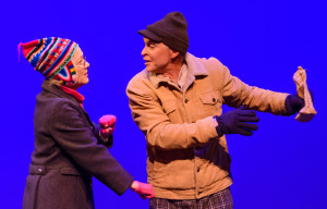"Her Heart: Ric Hagerman grabs bag with Presila Quinby 's broken heart in scene from Next Stage Repertory Company's production of ""Almost, Maine"" at the Craterian Theatre at the Collier Center for Performing Arts in Medford, OR"