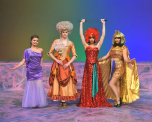 (L-R) Fiance of Jean Michel, Anne Dindon (Grace Peets), Cagelle female impersonators Chantal (Eoghan McDowell), Hanna (Reese Rush) and Angelique (Haley Forsyth) in Camelot Theatre's La Cage Aux Folles