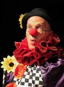 Billy Breed as Amos does clown shtick in Oregon Cabaret Theatre's Chicago