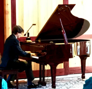 "Pianist Martin Majkut performing Claude Debussy's ""La fille aux cheveux de lin"" during ""An Enchanted Evening"" concert, on July 17, 2016 at Grizzly Peak Winery, Ashland, OR"