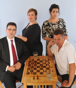 The principal cast of Livia Genise's & Ashland Contemporary Theatre's Chess (L to r): Alex Boyles (Anatoly), Rebecca Campbell (Svetlana), Haley Forsyth (Florence) & David King Gabriel (Freddie).