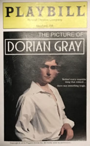 The playbill for Randall Theatre's Picture of Dorian Gray presents a good representation of the original state of the portrait. But this production use hi tech video special effects to create a clever actually changing portrait on stage.